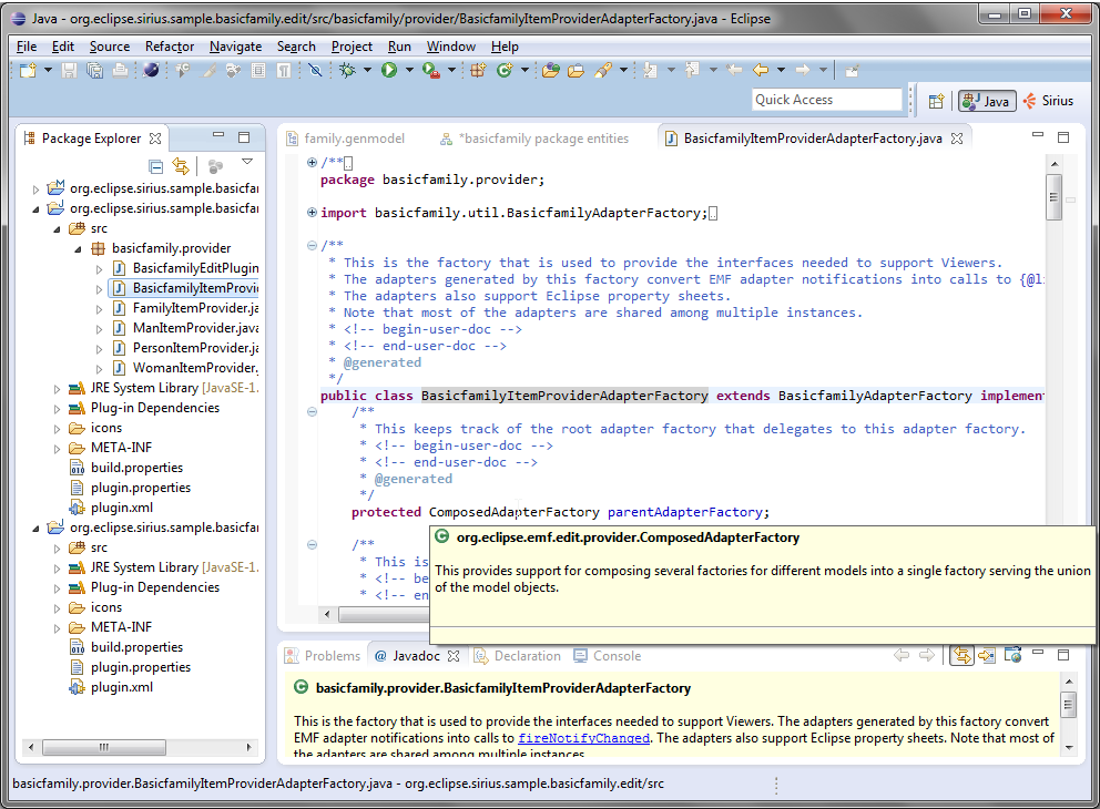 Eclipse workbench screenshot